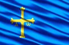 Иллюстрация флага Астурии реалистическая иллюстрация вектора