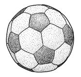 Иллюстрация футбольного мяча, чертеж, гравировка, чернила, линия искусство, вектор Стоковое Фото