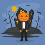 Иллюстрация характера тыквы хеллоуина в костюме с страшной предпосылкой замка бесплатная иллюстрация