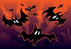 Иллюстрация хеллоуина с летучими мышами Стоковые Изображения