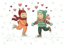 Иллюстрация цвета вектора девушки и мальчика катаясь на коньках на льде День Валентайн, рождество, Новый Год, открытка, украшение иллюстрация вектора