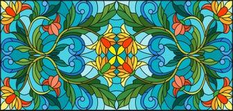 Иллюстрация цветного стекла с абстрактными оранжевыми цветками на голубой предпосылке Стоковое фото RF