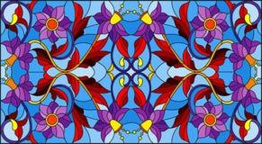 Иллюстрация цветного стекла с абстрактными свирлями, цветками и листьями на голубой предпосылке, горизонтальной ориентации Стоковые Изображения RF