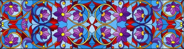 Иллюстрация цветного стекла с абстрактными свирлями, цветками и листьями на голубой предпосылке, горизонтальной ориентации Стоковое Изображение RF