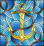 Иллюстрация цветного стекла с анкером корабля и веревочка на предпосылке волн Стоковое фото RF