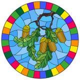 Иллюстрация цветного стекла с ветвью дуба, жолудей и листьев на предпосылке голубого неба в яркой рамке, roun иллюстрация штока