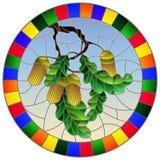 Иллюстрация цветного стекла с ветвью дуба, жолудей и листьев на предпосылке голубого неба в ярком бесплатная иллюстрация