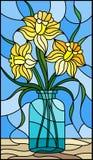 Иллюстрация цветного стекла с натюрмортом, букетом желтого daffodil в стеклянном опарнике на голубой предпосылке Стоковая Фотография RF