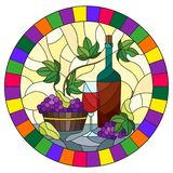 Иллюстрация цветного стекла с натюрмортом, бутылка вина, стекло и виноградины на желтой предпосылке, круглом изображении в ярком  иллюстрация вектора