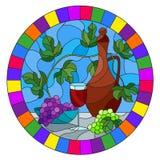 Иллюстрация цветного стекла с натюрмортом, кувшин вина, стекло и виноградины на голубой предпосылке, овальном изображении в яркой бесплатная иллюстрация