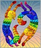 Иллюстрация цветного стекла с парой абстрактных геометрических котов радуги на предпосылке неба Стоковое Изображение RF