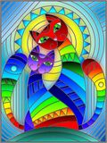 Иллюстрация цветного стекла с парой абстрактных геометрических котов радуги на голубой предпосылке с солнцем Стоковые Изображения RF