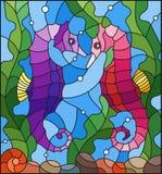 Иллюстрация цветного стекла с парой морского конька рыб на предпосылке воды и водорослей Стоковое фото RF