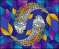 Иллюстрация цветного стекла с парой рыб на предпосылке воды Стоковое Фото