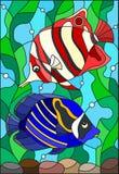 Иллюстрация цветного стекла с рыбами пары яркими на предпосылке воды и водорослей иллюстрация вектора