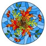 Иллюстрация цветного стекла с составом осени, яркими листьями и плодоовощами на голубой предпосылке, круглом изображении Стоковые Изображения RF