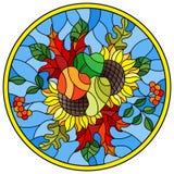 Иллюстрация цветного стекла с составом осени, яркими листьями, цветками и плодоовощами на голубой предпосылке, круглом изображени Стоковое фото RF