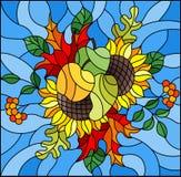 Иллюстрация цветного стекла с составом осени, яркими листьями, цветками и плодоовощами на голубой предпосылке, прямоугольном изоб Стоковое Изображение RF