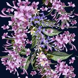 Иллюстрация цветочного узора с полем вектора нарисованным рукой цветет Стоковое фото RF