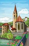 Иллюстрация церков города Стоковая Фотография