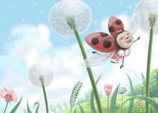 Иллюстрация цифров милого летания ladybug к небу стоковое фото