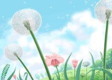 Иллюстрация цифров мягкого зеленого луга и голубой предпосылки облачного неба стоковые фотографии rf