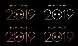 Иллюстрация цифров символа 2019, изолированного на черной предпосылке иллюстрация штока