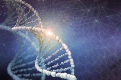 Иллюстрация цифров структуры ДНК в предпосылке цвета стоковое изображение
