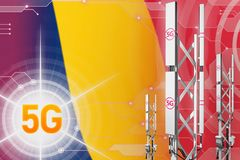 Иллюстрация Чад 5G промышленная, огромный клетчатый рангоут сети или башня на предпосылке с флагом - hi-техника иллюстрации 3D иллюстрация штока