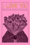 Иллюстрация человека держа цветки с писать я тебя люблю в стиле шаржа Стоковые Изображения RF