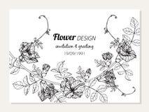 Иллюстрация чертежа рамки цветка гороха бабочки для поздравительной открытки приглашения и конструирует иллюстрация штока