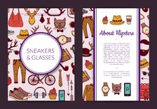 Иллюстрация шаблона карточки, рогульки или брошюры значков doodle битника вектора бесплатная иллюстрация