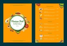 Иллюстрация шаблона меню ресторана кафа мексиканской кухни мультфильма вектора иллюстрация штока