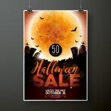Иллюстрация шаблона плаката вектора продажи хеллоуина с луной и летучие мыши на оранжевой предпосылке неба Дизайн для предложения Стоковые Изображения RF