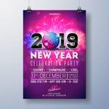 Иллюстрация шаблона плаката торжества партии Нового Года с 3d 2019 номеров, шарик диско и фейерверк на сияющее красочном иллюстрация вектора