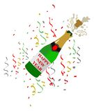 Иллюстрация шампанского в бутылке грибов для торжеств Нового Года цветастый confetti бесплатная иллюстрация