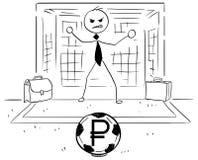 Иллюстрация шаржа бизнесмена как цель футбола футбола держит Стоковая Фотография RF