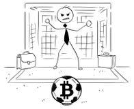 Иллюстрация шаржа бизнесмена как цель футбола футбола держит Стоковые Изображения