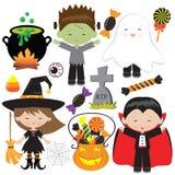 Иллюстрация шаржа вектора детей хеллоуина усмехаясь стоковые фотографии rf