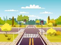 Иллюстрация шаржа вектора перекрестка улицы майны движения и пешеходного перехода или crosswalk с маркировкой Стоковое фото RF