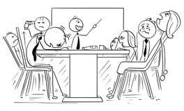 Иллюстрация шаржа группы в составе сумашедшие бизнесмены на встрече Стоковые Фотографии RF