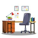 Иллюстрация шаржа плоская - комната с мебелью иллюстрация вектора