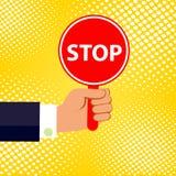 Иллюстрация шаржа руки держа плиту с словом СТОПОМ! стоковое изображение rf