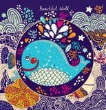 Иллюстрация шаржа с китом Стоковые Фотографии RF