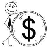 Иллюстрация шаржа усмехаясь склонности бизнесмена Стоковое Изображение RF