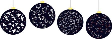 Иллюстрация шариков рождества с цветочным узором иллюстрация вектора