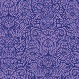 Иллюстрация штофа флористического орнамента арабескы руки вычерченная Безшовный пурпур вектора иллюстрация вектора