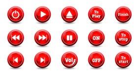 Иллюстрация электронная и концепция технологии, простой красный комплект кнопки значка Стоковые Изображения RF