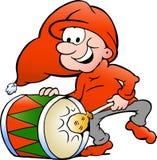 Иллюстрация эльфа играя барабанчик рождества Стоковое Изображение RF