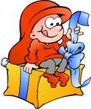 Иллюстрация эльфа эльфа сидя на подарке Стоковое Изображение